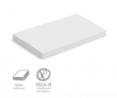 100 Large Rectangular Stick-It Cards, single colours
