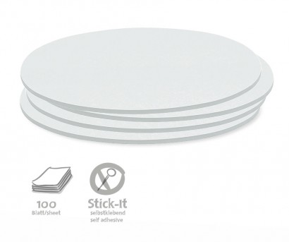 100 Oval Stick-It Cards, single colours