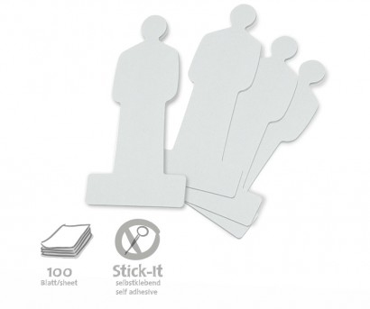 100 People Stick-It Cards, single colours